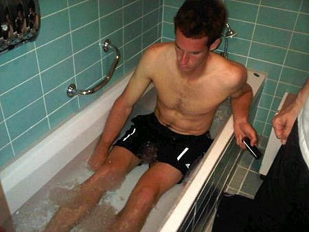 Tennis player Andy Murray takes an ice bath. Picture from his twitter page.